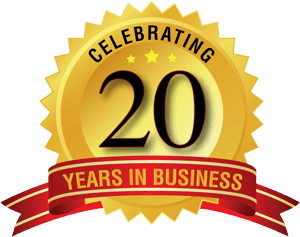 celebrating 20 years in business logo